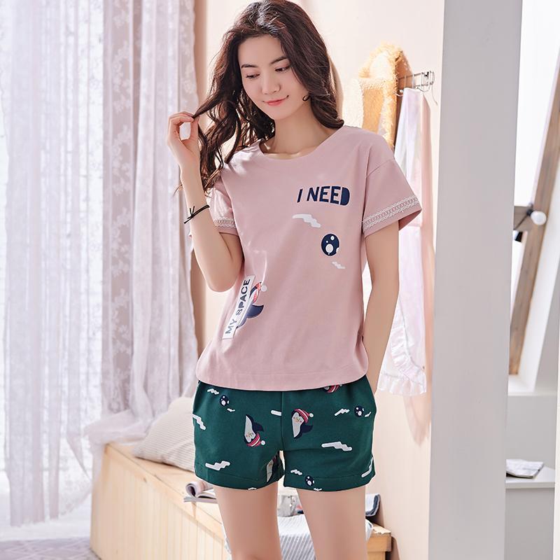b81dfabc9 Free Shipping New Summer 100%Cotton Women Pajamas Set Cute Cartoon Round  Neck Leisure Female Sleepwear Short Sleeve+Short Pants