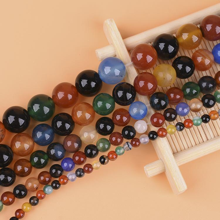 Natural colorful agate loose beads semi-finished products Manual DIY agate bracelet jewelry round beads loose beads accessories