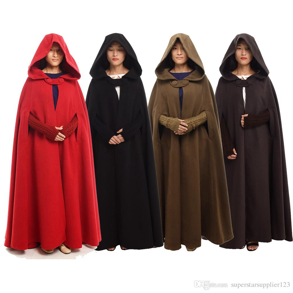 e99b9779 2kgs High Quality Women Medieval Cloak Vintage Winter Thick Wicca Hood  Floor Length Cape Poncho 4 colors