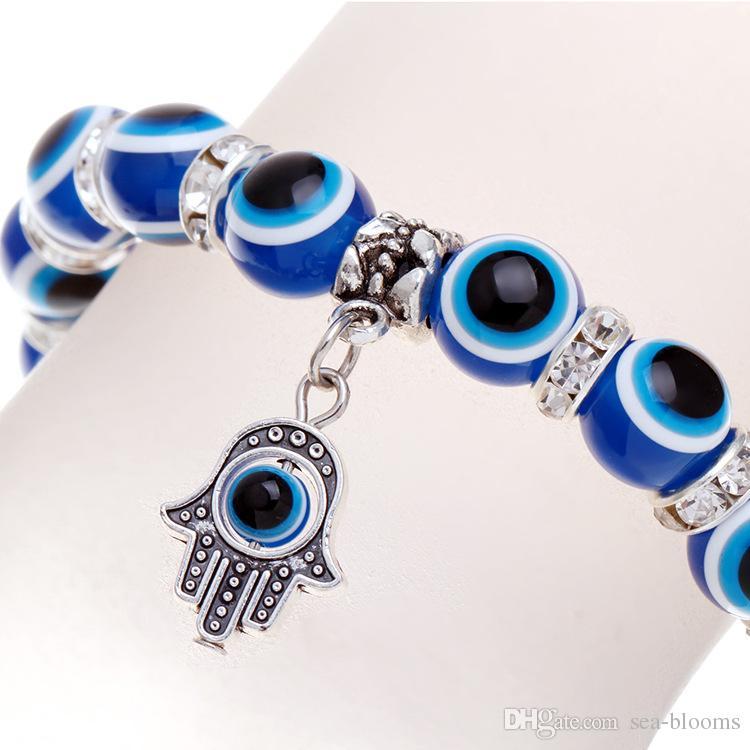 Hot Sale Jewelry Blue Evil Eye Beads Silver Shambhala Hamsa Hands Charms Energy Pendant Elastic Bracelet Christmas Gift D510S
