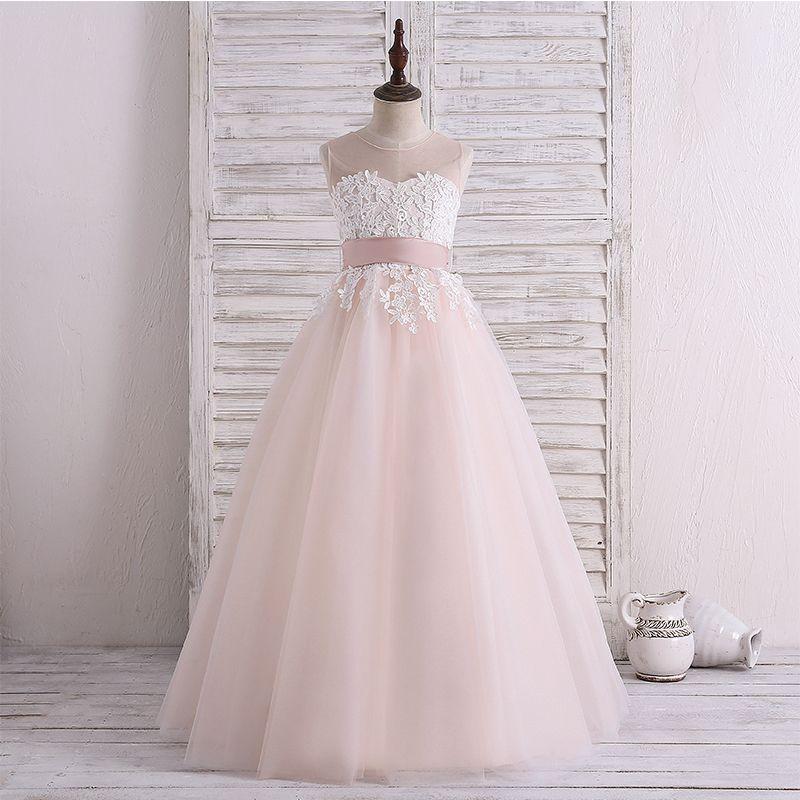 Yeni Çiçek Kız Elbise Çocuklar Abiye İlk Communion elbise Pageant Kız Glitz Scoop Boncuk Aplike Tam Boy Kız Giyim AA33