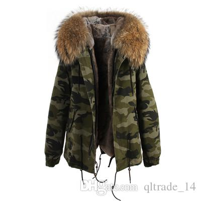 2018 snow coats Jazzevar brand White raccoon fur trim rabbit fur lining Camouflage shell jackets fur parkas Australia new Zealand