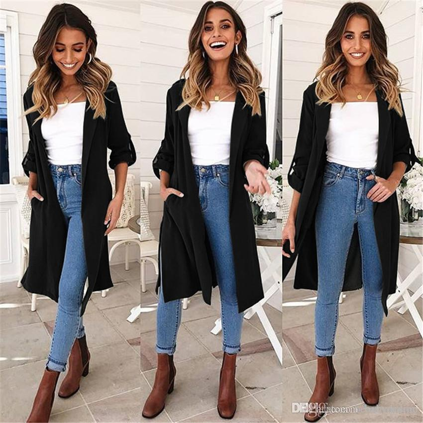2019 2019 New Fashion Casual Autumn Winter Mid Long Trench ...