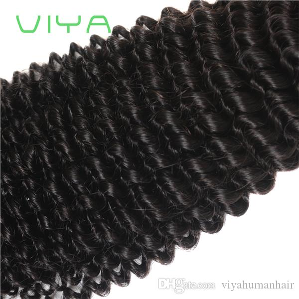 7A Unprocessed Human Hair Brazilian Kinky Curly Sew In Soft and Thick Virgin Hair Extensions 100g VIYA Remy Human Hair Weave Curly 4Bundles