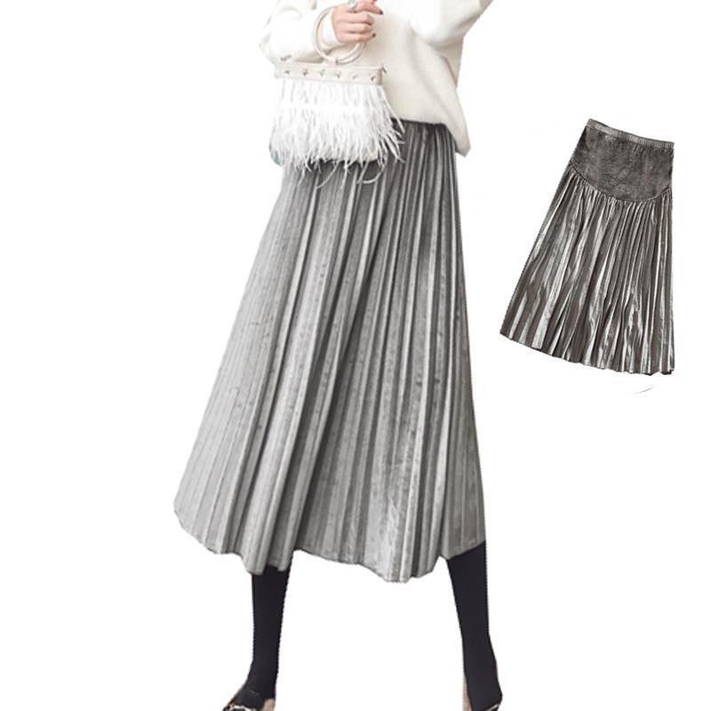 681c2073fff063 Femmes Enceintes Velours Plissé Jupes Longues Maternité Mode Vêtements  Grossesse Plus Taille Vintage Élégant Midi Ventre De Soutien Jupe