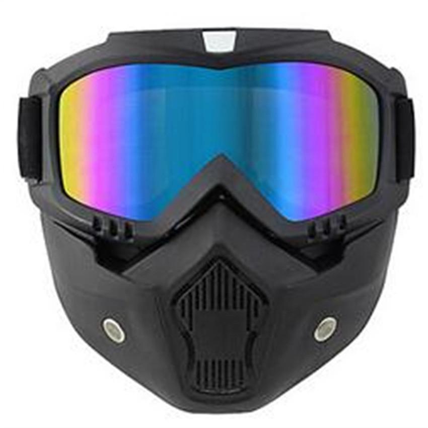 3f2f081a20b86 Compre Motocicleta Máscara Facial Capacete Óculos De Esqui Moto Motocross  Óculos Com Máscara Destacável Harley Estilo Moto Capacete Lente De  Sanjiaomeiflo, ...