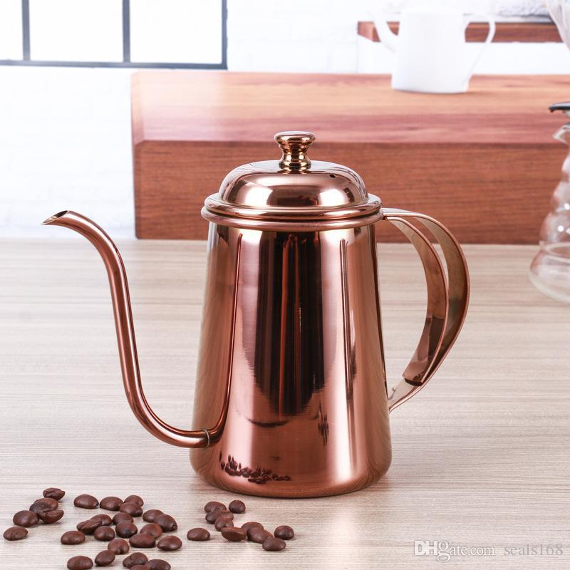 650 ML Café Pot En Acier Inoxydable Col De Cygne Verser Sur Cafetière Pendaison Oreille Goutte À Café Longue À Bec Bec Thé Bouilloire Outils HH7-414