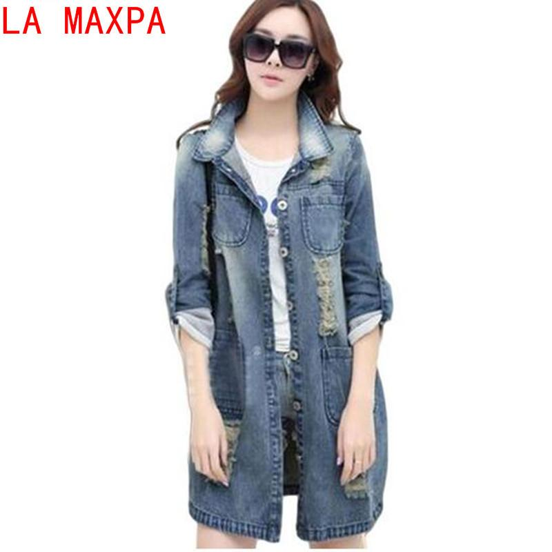 f22818e02fc Plus Size 5XL Denim Jacket Women 2018 New Spring Autumn Fashion Long Sleeve Jeans  Coat Female Casual Ripped Denim Jacket Tops S18101205 Summer Jackets ...