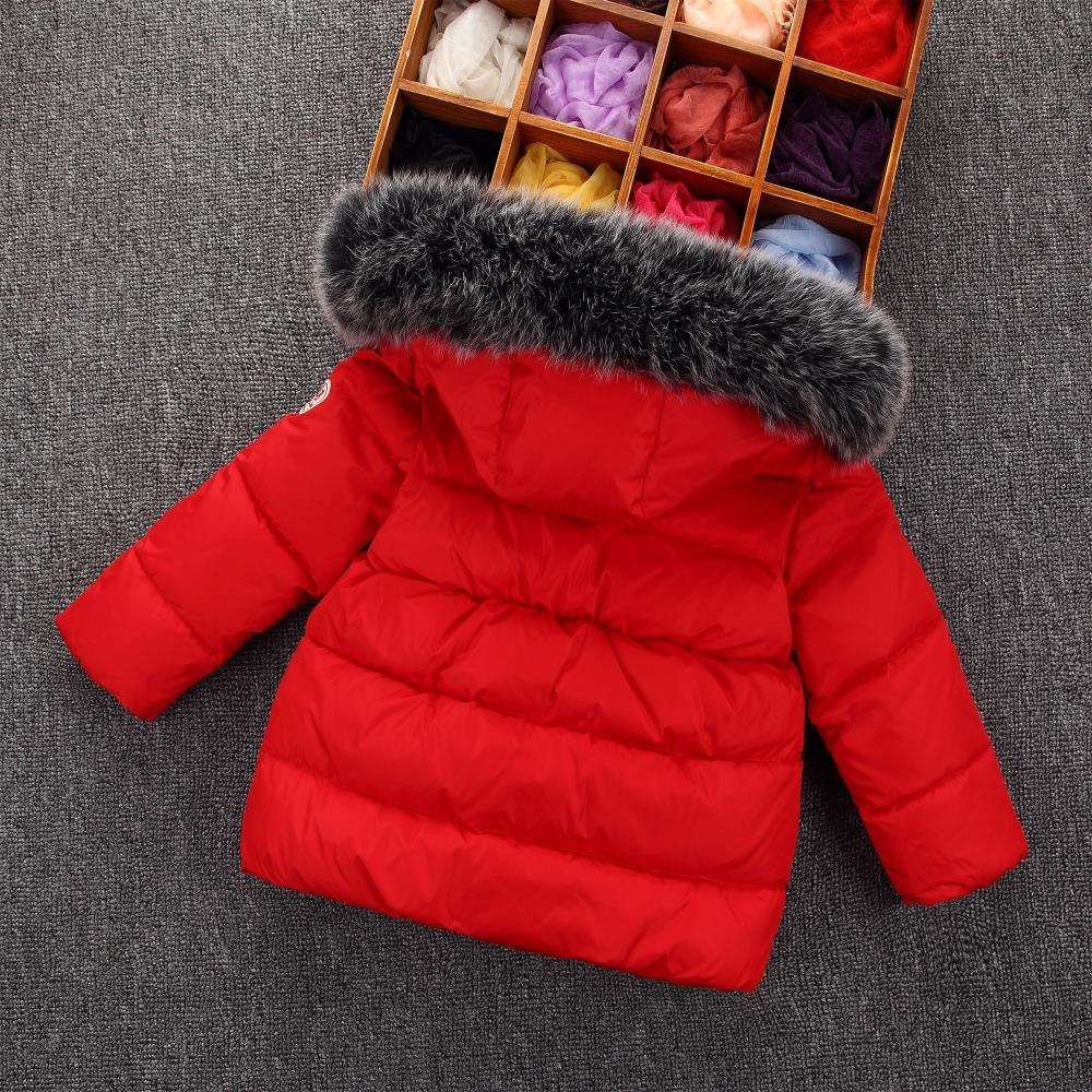1 2 3-6 years kids winter jacket baby girls Fox fur hooded white duck down thicken coat children winter jacket boys outwear coat
