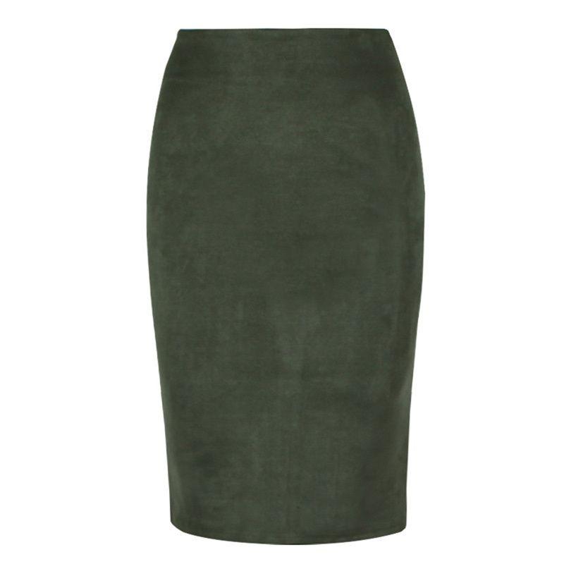0e60251ba75bb Women Bodycon Skirts Suede Split Thick Stretchy High Waist Skirt Female  Autumn Winter Sexy Pencil Skirts Plus Size Faldas Saia Online with   34.82 Piece on ...