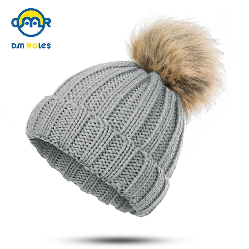 da4002b9e99 2019 DMROLES Baby Pom Pom Hat For Girls Boys Winter Cotton Coarse Wool  Children Hat Warm Beanies Cap Cute Knitted Baby From Humom