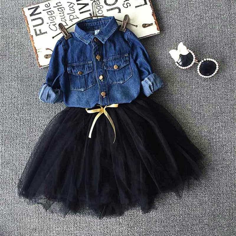 cbee57bcbc9 Acheter Toddler Girls Outfits Chemise En Jean + Jupe Tutu
