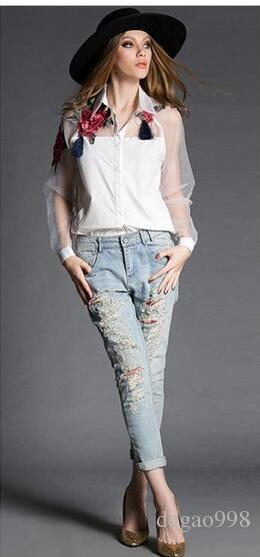 Trend di camicia primavera e estate stile europeo e americano fiore ricamo camicia a rete bianca di fascia alta manica lunga OL femminile 2018.S-2XL