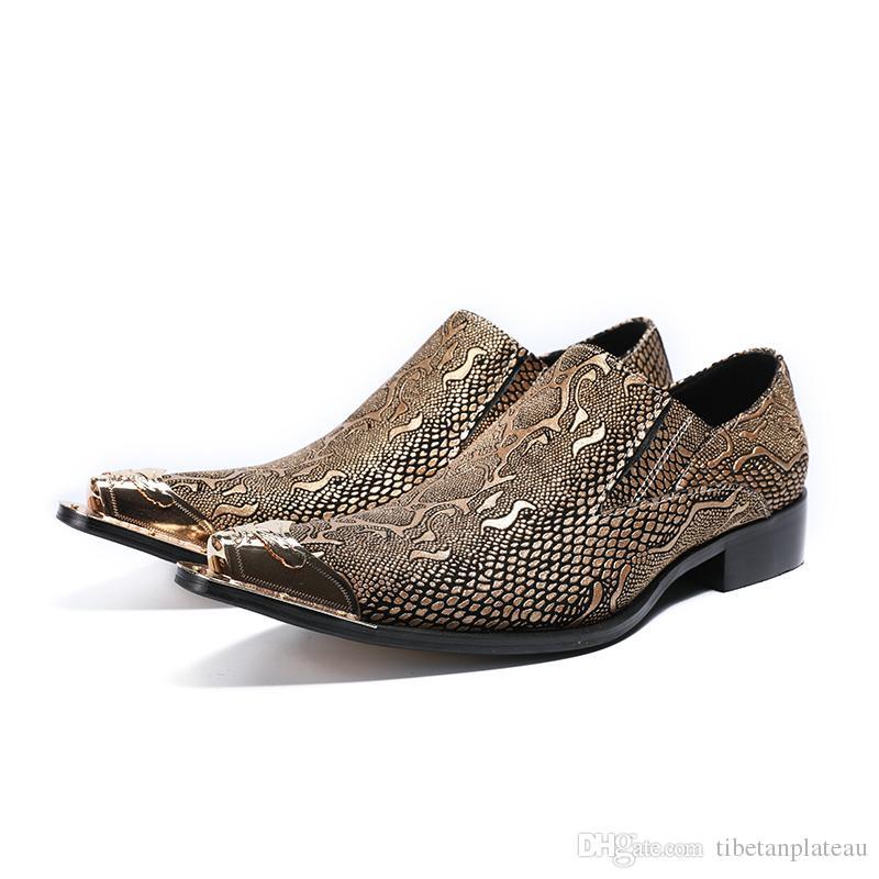 fda6e78af06 Compre Homens De Cor Prata Ouro Sapatos De Couro Genuíno Luxo Moda Noivo  Sapatos De Casamento Homens Oxford Sapatos Pés De Metal Sapato De  Tibetanplateau