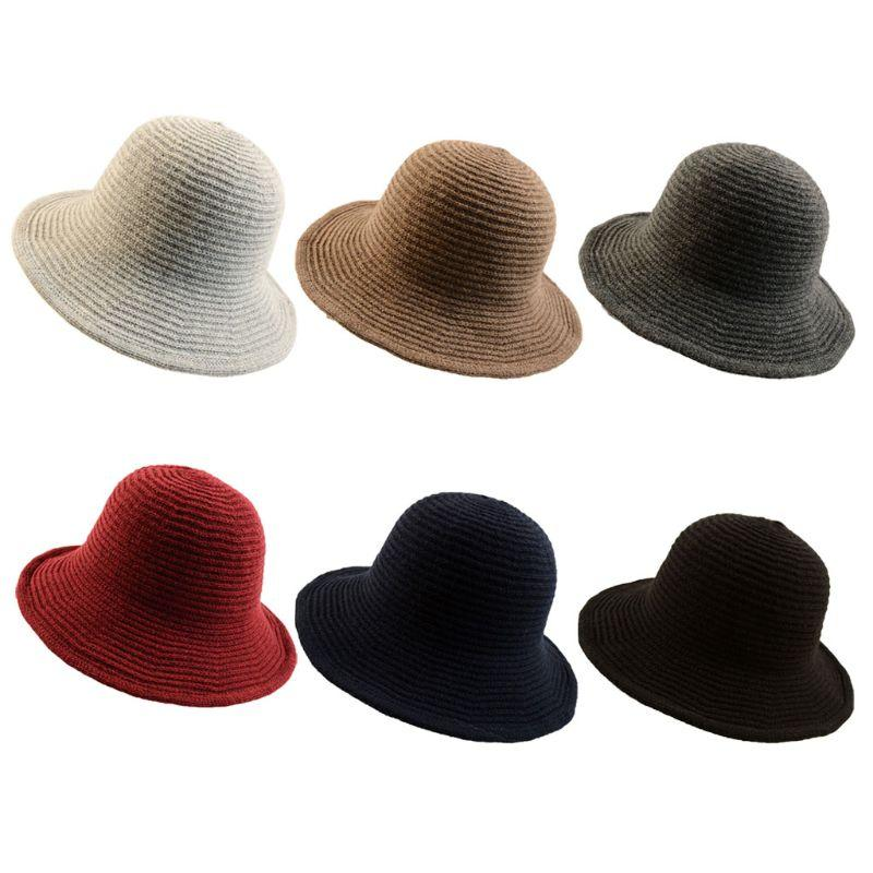 82b261e41 Womens Winter Warm Plain Soft Knitted Crotchet Fisherman Cap Solid Color  Wide Wavy Brim Bucket Hat With Flexible Wire Wool Blend