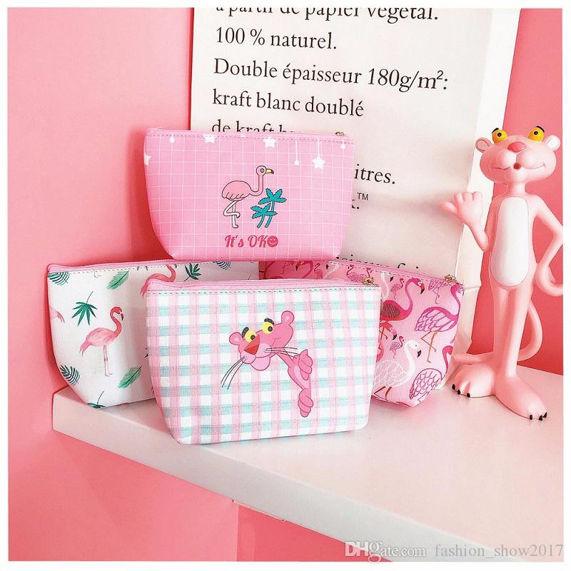 New Fashion Cartoon Pink Pig Flamingo Panther Makeup Travel Storage Bags Toy Party Supplies Festive Favors Girl Women Gift