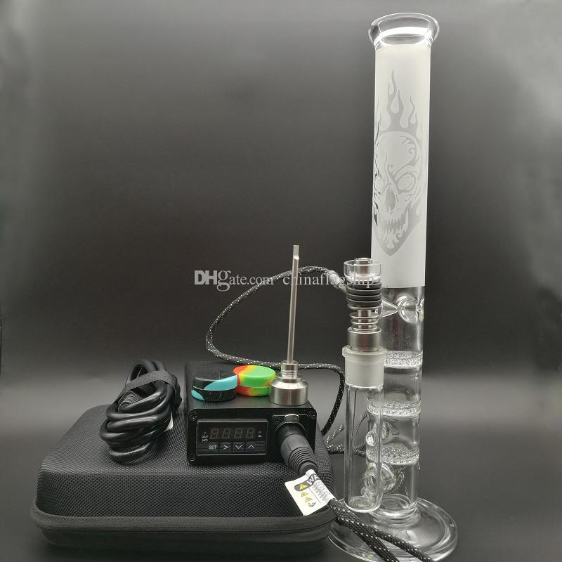 E Digital Nail Kit with dab rigs 6 in 1 upgrade electric dab nail heater coil for tall Glass Percolator Water Pipe Bong