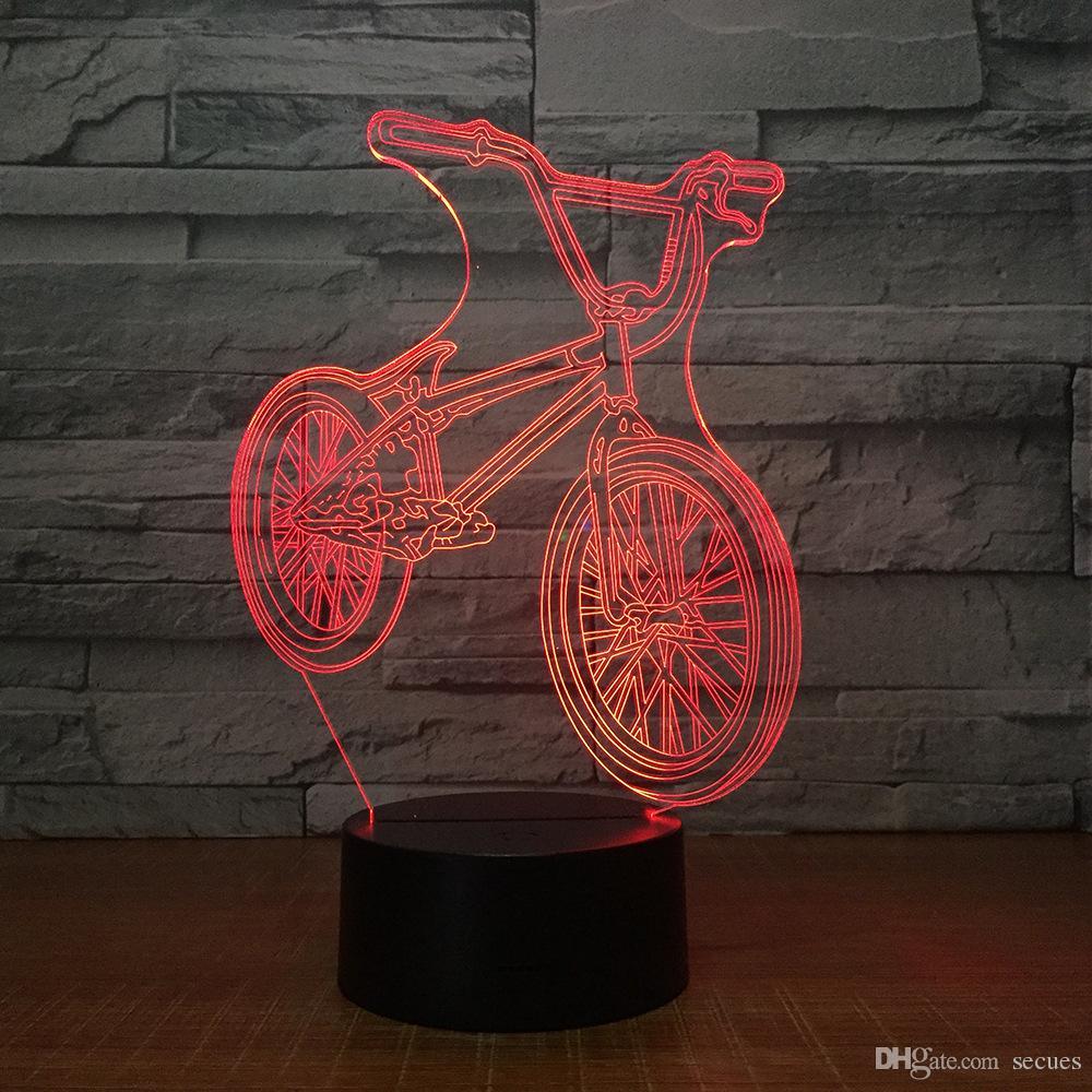 Fahrrad 3D Illusion Licht Lampe 3D Optische Lampe AA Batterie USB Powered 7 RGB Licht DC 5 V Wholesale Freies Verschiffen