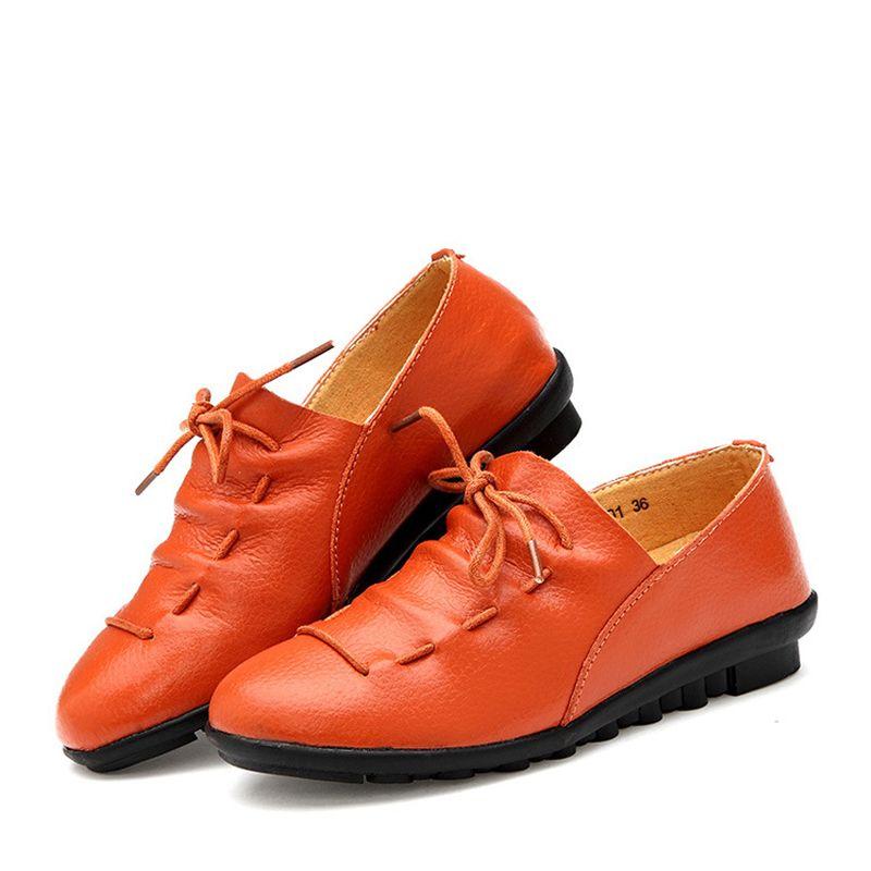 Women Split Leather Oxfords Womens Pointed Toe Big Size 35 40 Slip