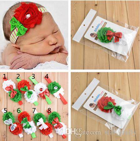 Baby Girls headbands Rose Flower Bows Rhinestones Infant Kids Hair Accessories Christmas Girl Head bands for Wedding party 9 styles 511