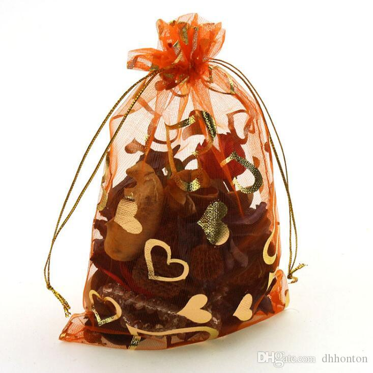 creativo bolsa de gasa organza de color naranja 7x9cm bolsa de envoltura del corazón del melocotón muchos colores para elegir WQ26