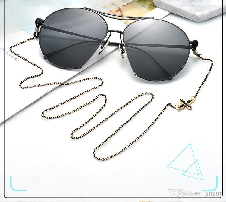 선글라스 여성을위한 패션 체인 흰색 클로버 선글라스 코드 dames 실리콘 합금 안티 슬립 한국 디자인 달콤한 안경 끈을 mujer