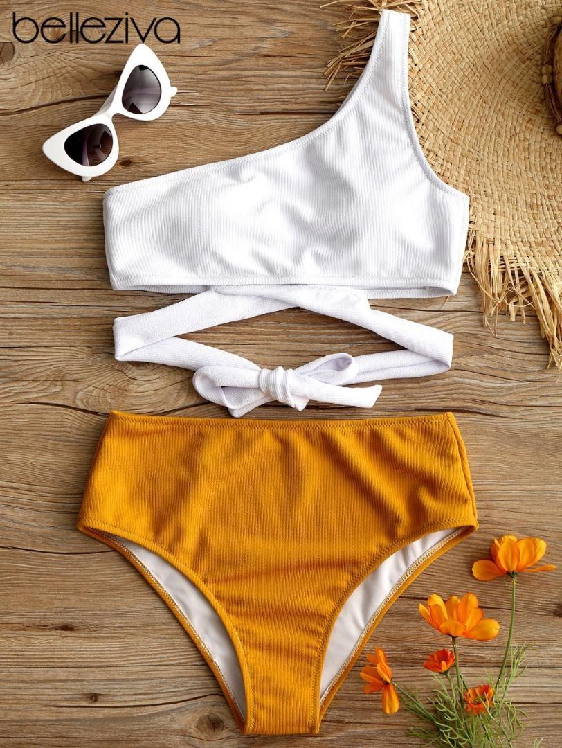 afc1adf47705 2019 Belleziva One Shoulder Two Tone Bikini Set 2018 Bandage Bikini Series  Ladies Knot Swimsuit Swimsuit Biquinis Bath Set High Waist From Zhusa, ...
