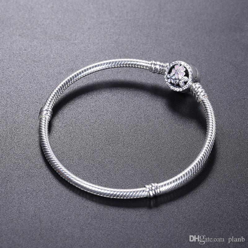 925 Sterling Silber ARMBAND Blüte Blume Emaille Verschluss für Pandora Schmuck Bettelarmband Original Box Frauen Hochzeit Armbänder