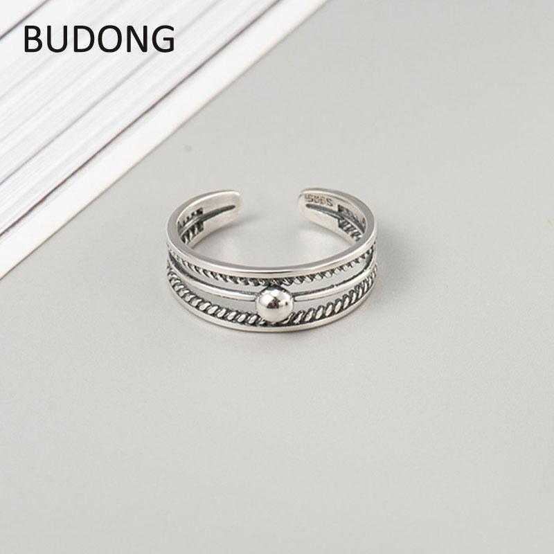 84f0b15f8250c BUDONG Real 925 Sterling Silver Open Finger Rings for Women Retro Simple  Carved Toe Ring Adjustable Foot Fine Jewelry LHRT0055