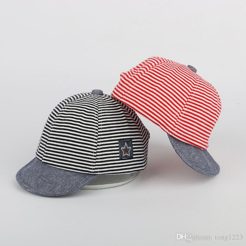 2a0d3e6b3f82ac 2019 Summer Cotton Baby Hats Cute Casual Striped Soft Eaves Baseball Cap  Baby Boy Beret Baby Girls Sun Hat New From Tong1223, $10.15 | DHgate.Com