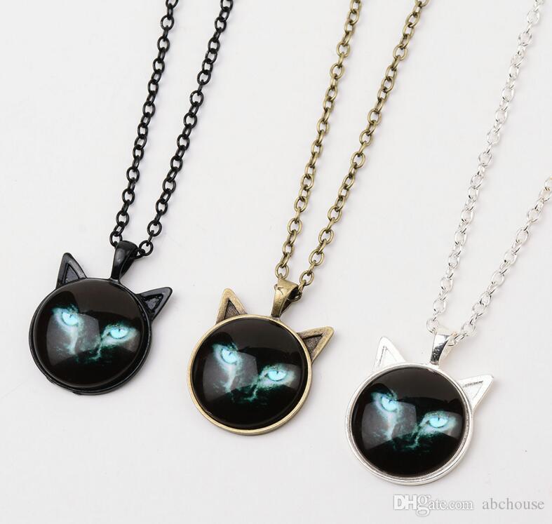 New Black Cat Glass Cabochon Collana in argento placcato in bronzo Cat Ear Frame Pendenti Fashion Jewlery Regali donna Kids i
