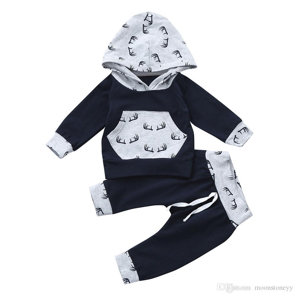 Babykleding Print.2019 Toddler Baby Born Boy Girl Clothes Set Print Hoodie Tops Pants