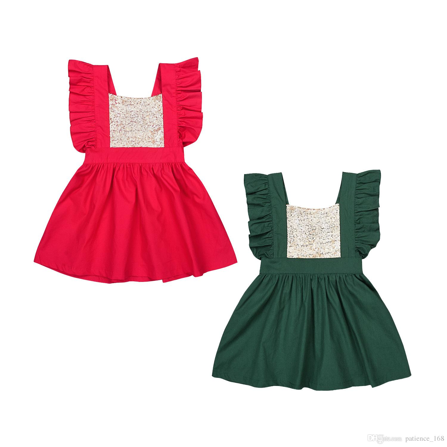 f31b5d1969522 Christmas Dress 2018 European and American hot sales INS NEW ARRIVAL Girls  Kids fly Sleeve Sweet Sequin pure color 2 colors free shipping
