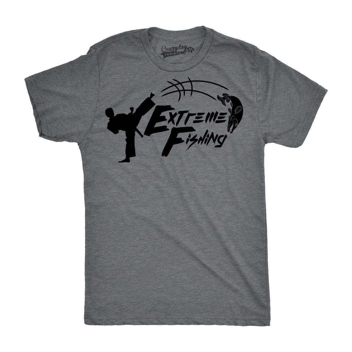 Mens Extreme Fishing Funny Karate Fish Kick Custom T Shirts Sport