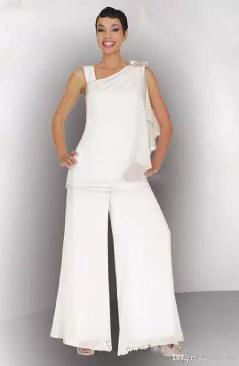 2019 جديد زائد الحجم الأبيض الشيفون أم العروس بانت البدلة ruched كريستال النساء فساتين رسمية لفساتين الزفاف الزوار مخصص