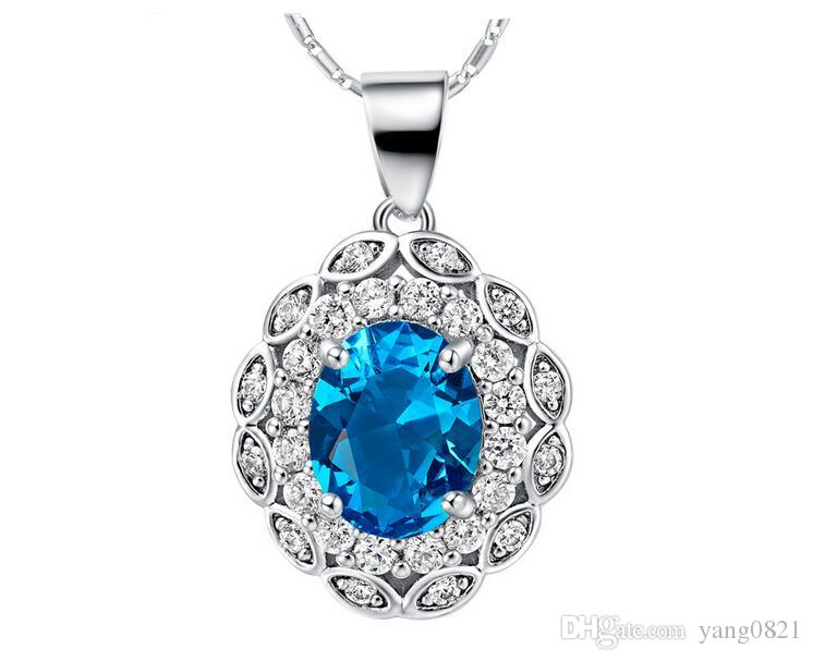 Women fashion Crystal Jewelry Set 18K white platinum plated Blue stone pendent necklace earrings ring set female charm accessory