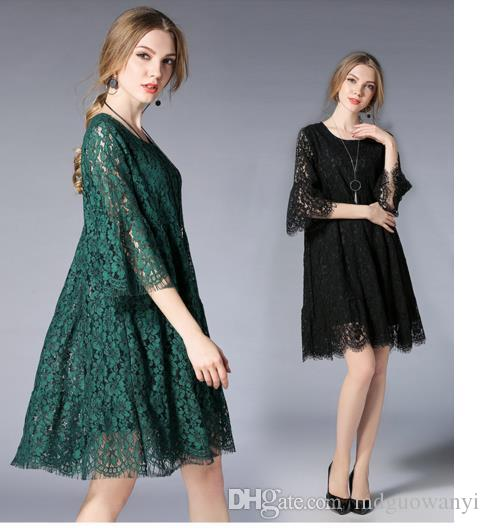 Hot Selling Plus Size Spring New Lace Hollowed Out Creases Fat Mm