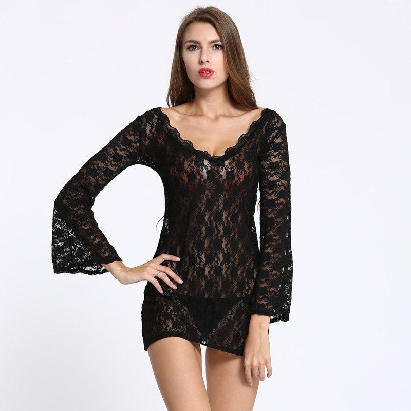 4f03bfda10 Women s Sleepwear V Neck Pajamas Summer Sleep Tops Sexy Lace Pajamas ...