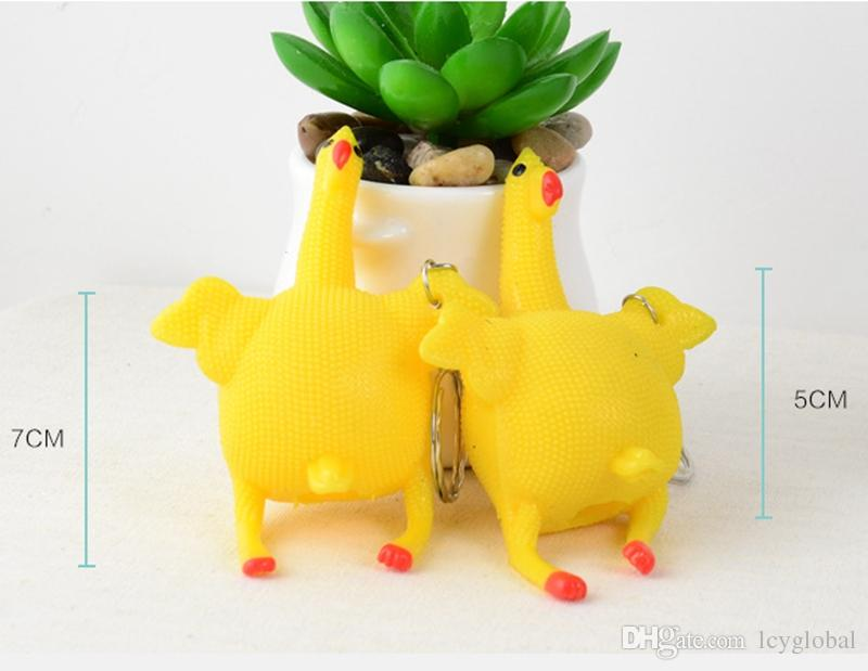 Creative Vent Toy Funny Cock Lay Eggs Anti Stress Products Chicken With Egg Press Hen Egg Novelty Toys Keychain Opp Bag