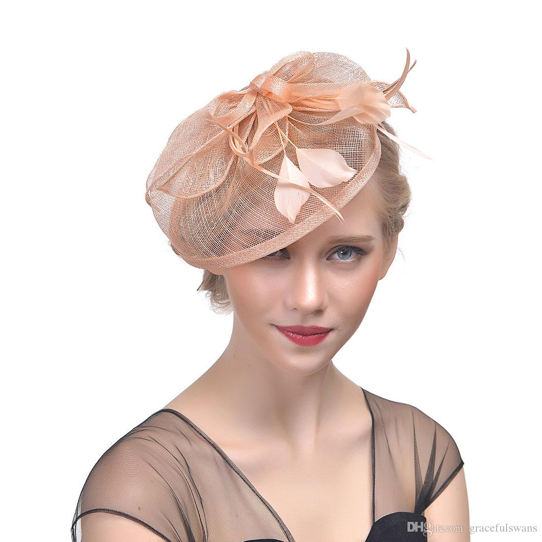 bridal linen hats elegant feathers gorgeous formal party hair accessories  for women 2018 new fashion chapeau mariage