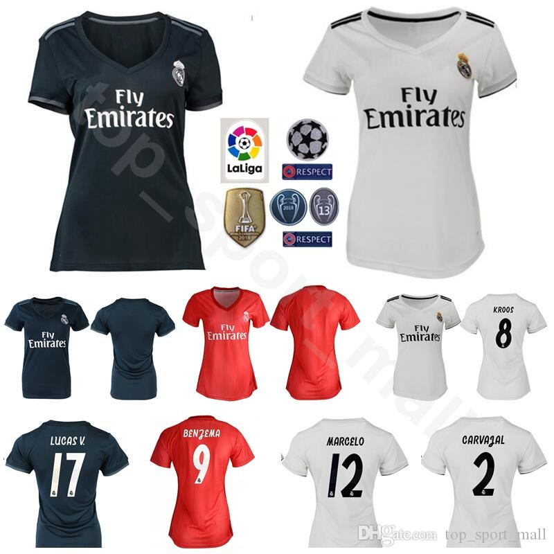 buy online f258a 764c3 Lady Soccer Real Madrid Women BENZEMA Jersey La Liga 18 19 White Red TONI  KROOS MARCELO VAZQUEZ COURTOIS Football Shirt Kit Woman Uniform