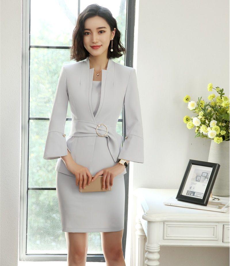 2019 New Style 2018 Fashion Grey Blazer Women Business Suits Dress