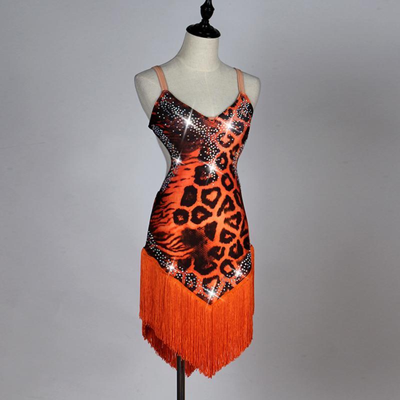 2019 New Orange Leopard Sexy Latin Dance Costume Female Adult Tassel ... bba67bcee231