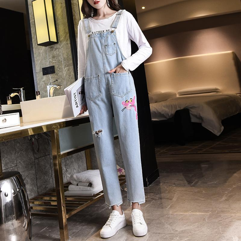 b50eed4ff5b 2019 2018 Ladies Denim Overalls Women Korean Fashion Slim Loose Embroidery  Ripped Jeans High Waist Jumpsuit Harem Pants Jeans Casual From Smotthwatch