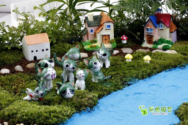 Cartoon Harz Kitty Puppen Handwerk Miniatur Moos Bonsai Töpfe Dekoration Käse Katze Tabletop Sukkulenten Terrarium Decor Fair Gartenfiguren