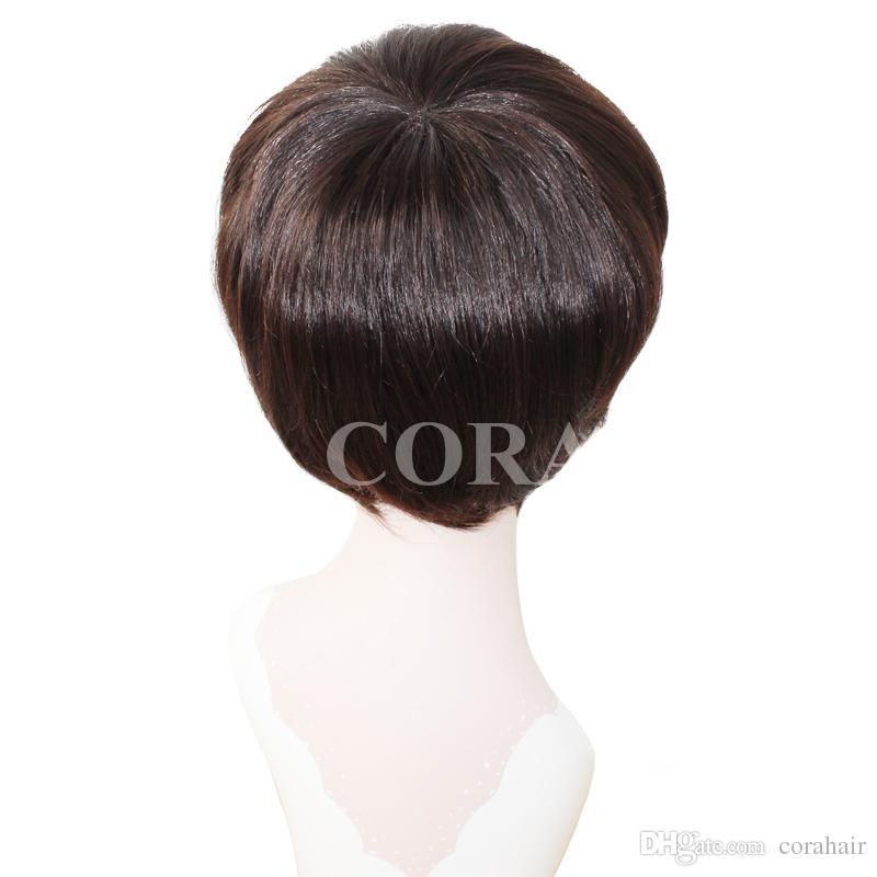100% sin procesar virginal brasileño sin cola cordón lleno corto humano corte pelucas de pelo con flequillo corto encaje frente peluca para mujeres negras