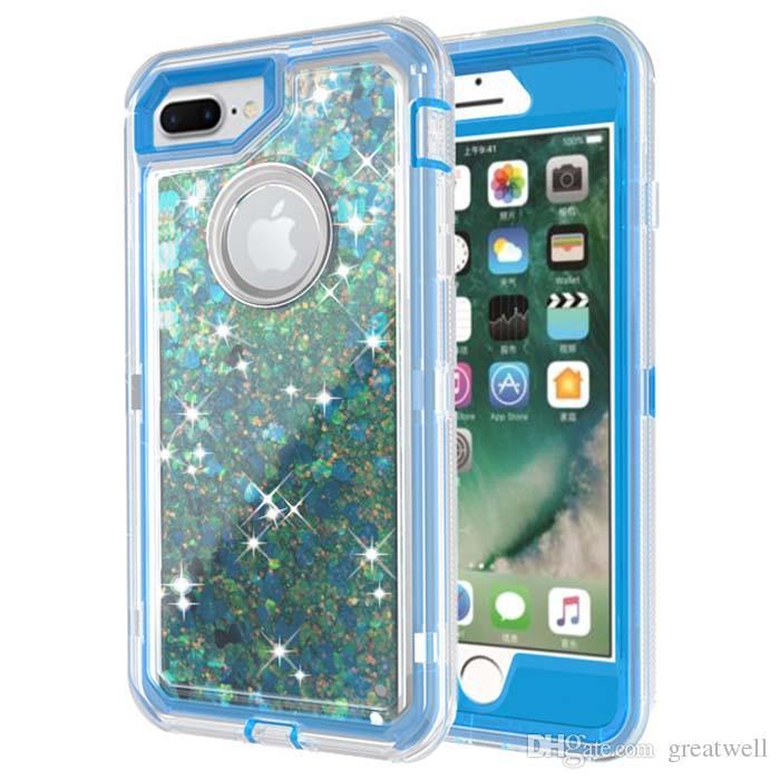 3 em 1 brilho líquido quicksand case bling casos defensor do robô de cristal capa para iphone xs max xs 8 6 mais samsung s7 s8 s9 s10e mais nota 9