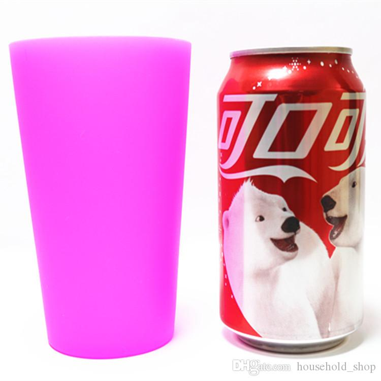 13oz Silicone cup Unbreakable 350ml Foldable Red wine cups Clear Rubber Wine Glass Barbecue camping portable Beer Juice Cooffee Mugs DHL