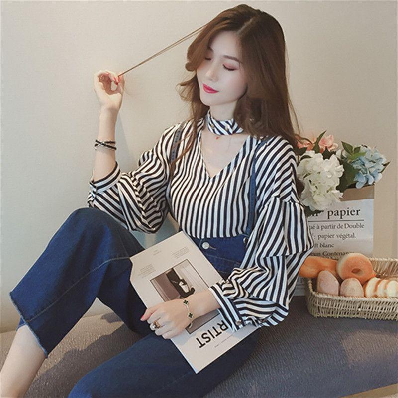 Neploe Neuheiten Gestreifte Frauen Shirts Korean Herbst Winter Aushöhlen Bluse Streetwear Lässige Lose Weibliche Blusas 66615