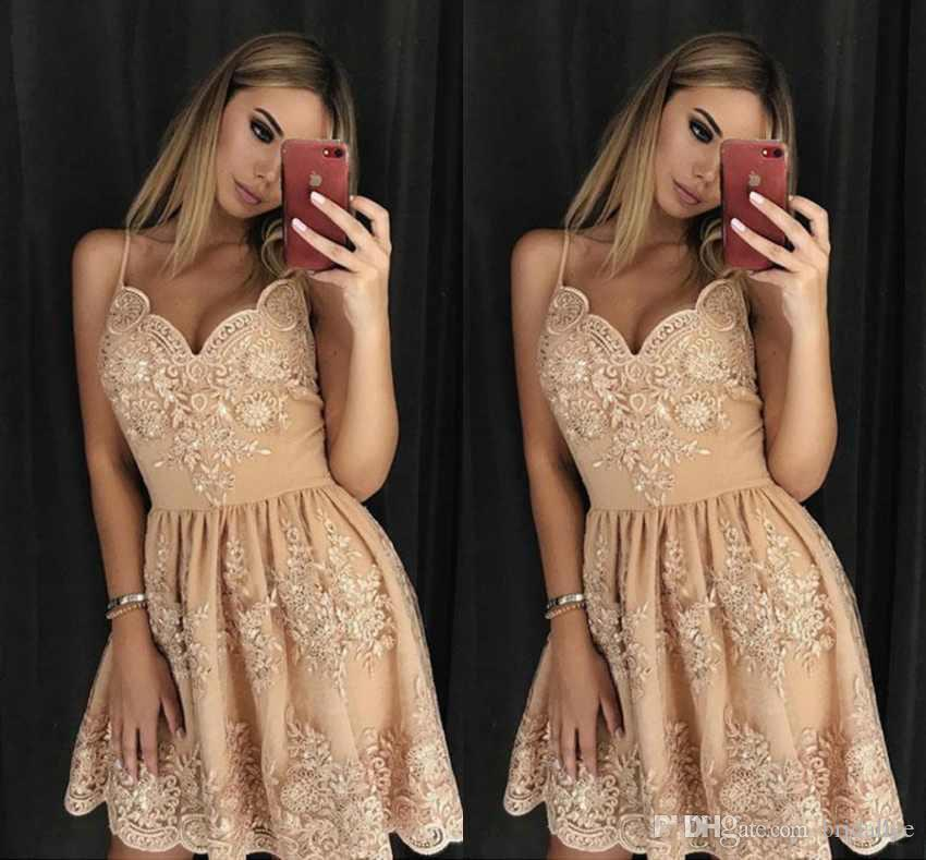 0ffd3ec4234 Lace Short Homecoming Dresses V Neck Sleeveless A Line Formal Party Dresses  With Full Appliques Homecoming Dresses Sexy Sexiest Homecoming Dresses From  ...